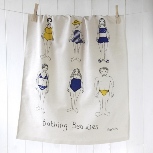 Bathing beauties tea towel